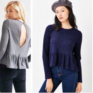 NWOT UO Kimchi Blue Babydoll Peplum Sweater